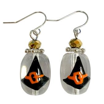Painted Halloween Black Witch Hat Glass Bead Drop Dangle Earrings E-387D