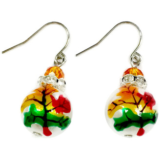 Painted Fall Maple Leaf Glass and Rhinestone Bead Drop Dangle Earrings E-307A
