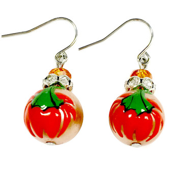 Painted Fall Gold Pumpkin Glass and Rhinestone Bead Drop Dangle Earrings E-307B