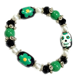 Painted Green Sugar Skull Day of Dead Beaded Stretch Bracelet BR-2535F
