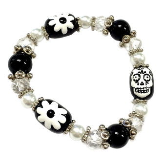 Painted Black and White Sugar Skull Day of Dead Beaded Stretch Bracelet BR-2535G
