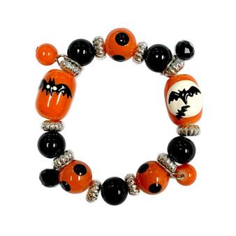 Painted Kid's Halloween Bats Glass Beaded Stretch Bracelet E-2206
