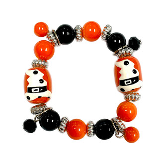 Painted Kid's Halloween Witch Hat Glass Beaded Stretch Bracelet BR-2207
