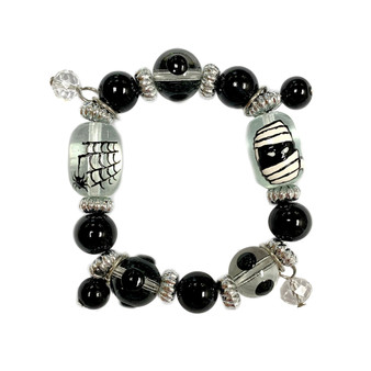 Painted Kid's Halloween Spider Web and Mummy Glass Beaded Stretch Bracelet BR-2208