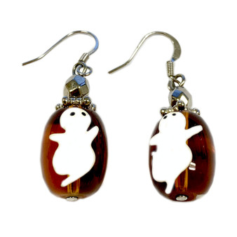 Painted Halloween Ghost Glass Bead Earrings E-04