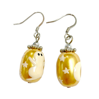 Painted Halloween Ghost Gold Glass Bead Earrings E-04P
