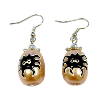 Painted Halloween Spider Gold Glass Bead Earrings E-09