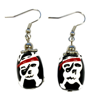 Painted Halloween Skull Black Glass Bead Earrings E-51