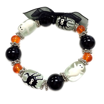 Painted Halloween Ghost and Spider  Glass Beaded Stretch Bracelet BR-1513