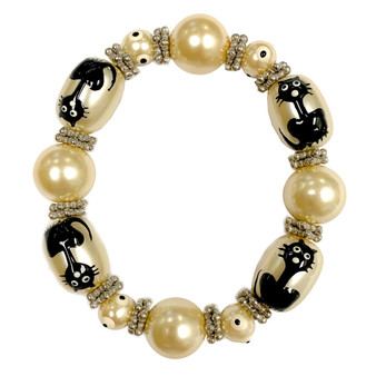 Painted Halloween Black Cat Yellow Pearl Glass Beaded Stretch Bracelet IUP10-1P