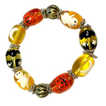 Painted Halloween Ghost, Pumpkin, Bat Yellow Glass Beaded Stretch Bracelet IUP10-2