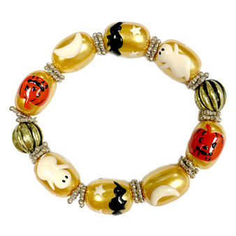 Painted Halloween Ghost, Pumpkin, Bat Gold Pearl Glass Beaded Stretch Bracelet IUP10-2P