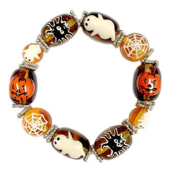 Painted Halloween Ghost, Pumpkin, Spider, Web Glass Beaded Stretch Bracelet IUP10-3