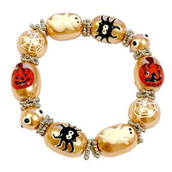 Painted Halloween Ghost, Pumpkin, Spider, Web Gold Pearl Glass Beaded Stretch Bracelet IUP10-3P