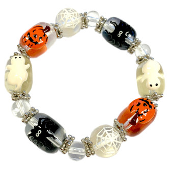 Painted Halloween Ghost, Pumpkin, Spider Glass Beaded Stretch Bracelet IUP10-6
