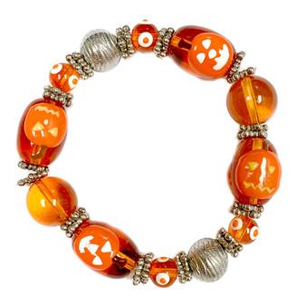 Painted Halloween Orange Pumpkins Glass Beaded Stretch Bracelet HW-05
