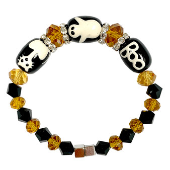 Painted Halloween Cat, Ghost, Boo Black Glass & Crystal Beaded Bracelet with Magnetic Clasps IUP10-5LM