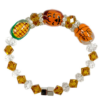 Painted Fall Pumpkin, Leaf, Corn Glass & Crystal Beaded Bracelet with Magnetic Clasps IUP27-3LM