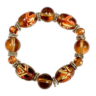 Painted Fall Leaves Brown Glass Beaded Stretch Bracelet BR-1786