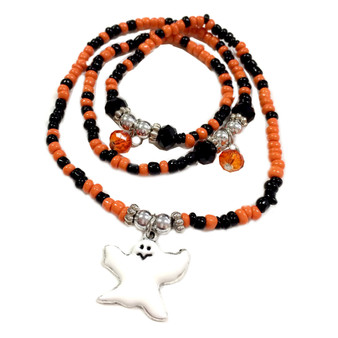 Painted Halloween Ghost Charm with Seed Glass Beaded Wrap Around Bracelet BR-2253C