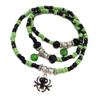 Painted Halloween Black Spider Charm Seed Glass Beaded Wrap Around Bracelet BR-2253E