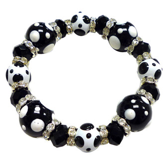 Painted Black and White Polka Dots Glass & Crystal Beaded Stretch Bracelet PD-02