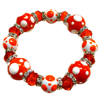 Painted Orange and White Polka Dots Glass & Crystal Beaded Stretch Bracelet PD-09