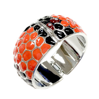 Painted Halloween Orange and Black Dots Bangle with Open Hinge Top BAG-24A