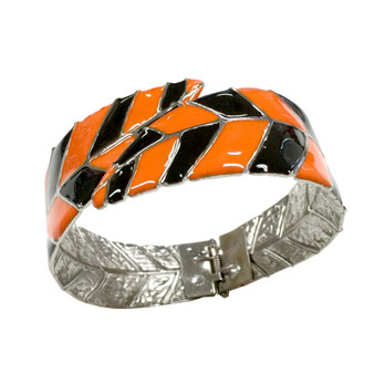 Painted Halloween Orange and Black Leaf Bangle with Open Hinge Top BAG-83