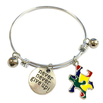 Painted Puzzle Charm Autism Awareness Adjustable Bangle 052716-13