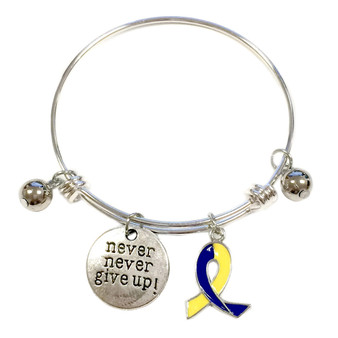 Painted Yellow and Blue Ribbon Charm Down Syndrome Awareness Adjustable Bangle 052716-14
