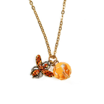 Fine Painted Queen Bee and Honeycomb Swarovski Crystal Necklace (NE-3151)
