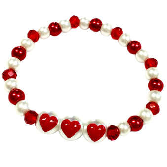 Valentine Bracelet - Red Heart Dainty Glass Beaded Bracelet - Hand painted - BR2775