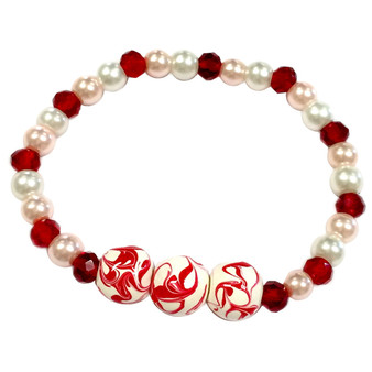 Valentine Bracelet - Red Water Marble Art Bracelet - Dainty Glass Beaded Bracelet - Hand painted - BR2779A