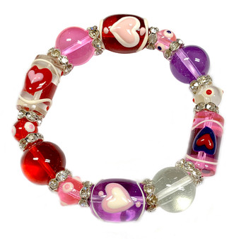 The Love Bracelet -  Heart Bracelet - Beaded Bracelets for Women - Gifts for Her Valentines - Pink - Fiona - IUP633