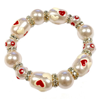 Valentine Bracelet - Hearts Bracelet -Glass Beaded Bracelet - Hand painted - IUP635