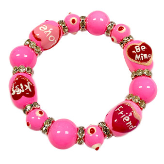 Valentine Bracelet - Love Bracelet - Kiss Bracelet - Glass Beaded Bracelet - Hand painted - IUP651