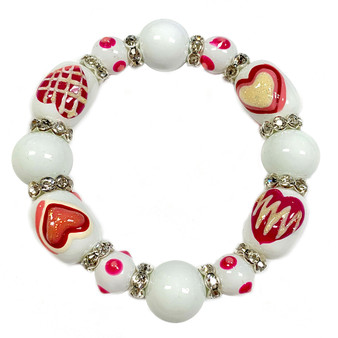 Valentine Bracelet - Love Hearts Bracelet  - Glass Beaded Bracelet - Hand painted - IUP652