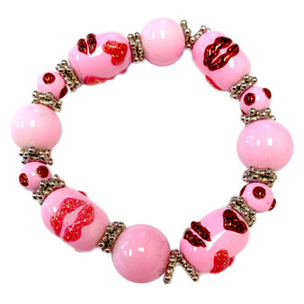 The Love Bracelet -  Heart Bracelet - Beaded Bracelets for Women - Best Gift for Girlfriend - Pink Lips - Fiona - IUP682