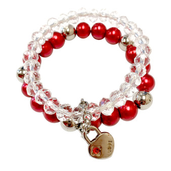 Valentine Bracelet - Love Heart Lock and Chain Crystals and Glass Beaded Dual Bracelets- BR2612A