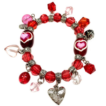 Valentine Bracelet - Red Hearts with Charms Bracelet  - Glass Beaded Bracelet - Hand painted - BR2257A