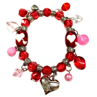 Valentine Bracelet - Hearts with Charms Bracelet  - Glass Beaded Bracelet - Hand painted - BR2257B