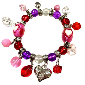 Valentine Bracelet - Hearts with Charms Bracelet  - Glass Beaded Bracelet - Hand painted - BR2257C