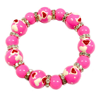 Valentine Bracelet - Pink Tiny Hearts Bracelet - Glass Beaded Bracelet - Hand painted - BR1181A