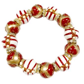 Valentine Bracelet - Gold Hearts Bracelet - Glass Beaded Bracelet - Hand painted - BR1243