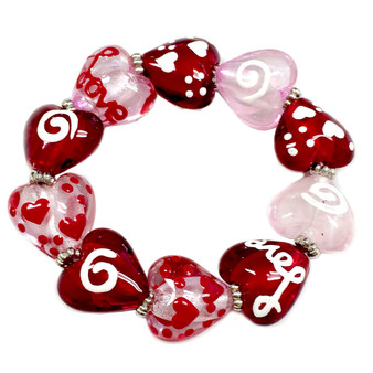 Valentine Bracelet - Love Heart Glass Bracelet - Glass Beaded Bracelet - Hand painted - IUP32-4