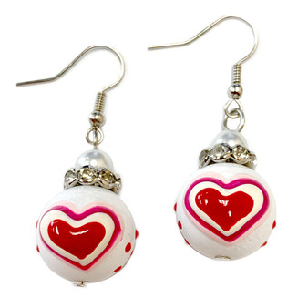 Valentine Earrings - Hearts Earrings - Glass Beaded Dangle Earrings - Hand painted - E01R