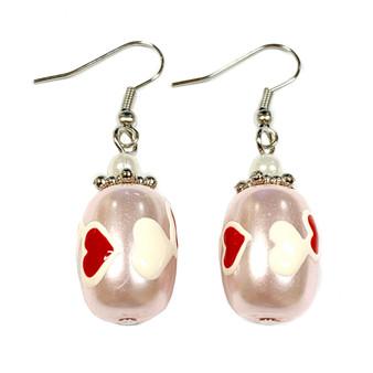 Valentine Earrings - Pearl Hearts Earrings - Glass Beaded Dangle Earrings - Hand painted - E22