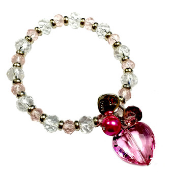 Valentine Bracelet - Pink Crystal Heart with Lock Charms Bracelet  - Crystals Beaded Bracelet - Handmade - BR2168B