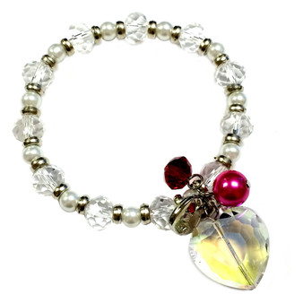 Valentine Bracelet - AB Crystal Heart with Lock Charms Bracelet  - Crystals Beaded Bracelet - Handmade - BR2168C